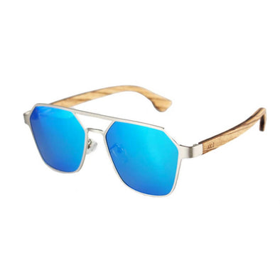 Hex Blue Zebra Wood Sunglasses