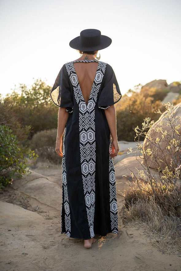 Black Kaftan Dress with Tribal Print