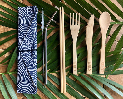 Pauji Outdoors Bamboo Cutlery Set, Stainless steel straw, and Waves design pouch