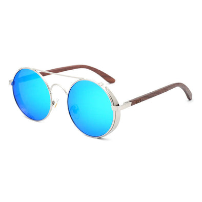 Capri Blue Walnut Wood Sunglasses