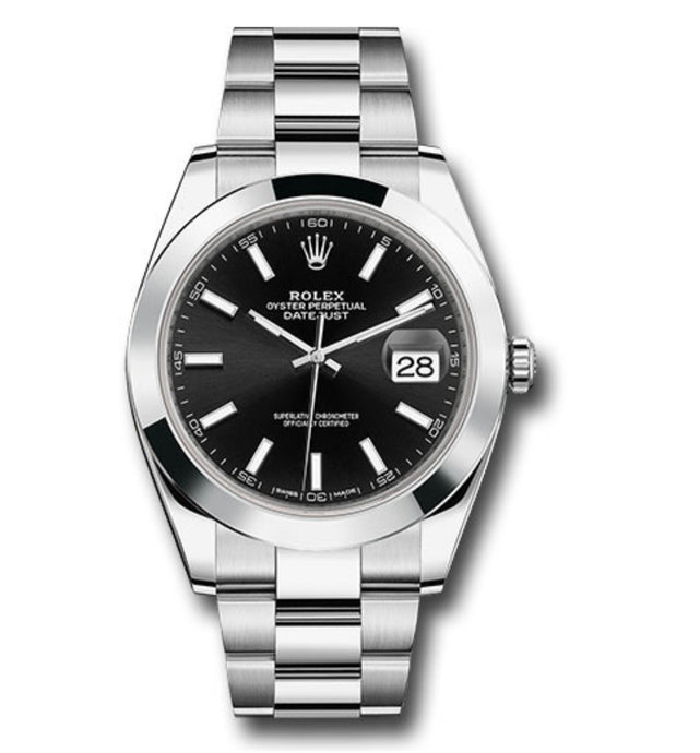 Rolex Datejust SS Smooth Bezel Black Stick Dial 41MM