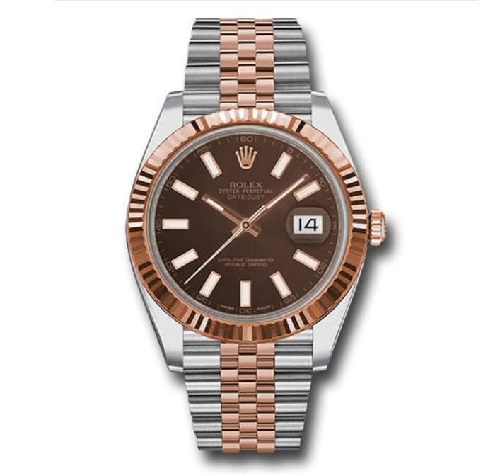 Rolex Datejust Two Tone Fluted Bezel Chocolate Stick Dial 41MM
