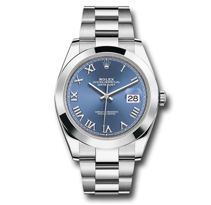 Rolex Datejust SS Smooth Bezel Blue Roman Dial 41MM