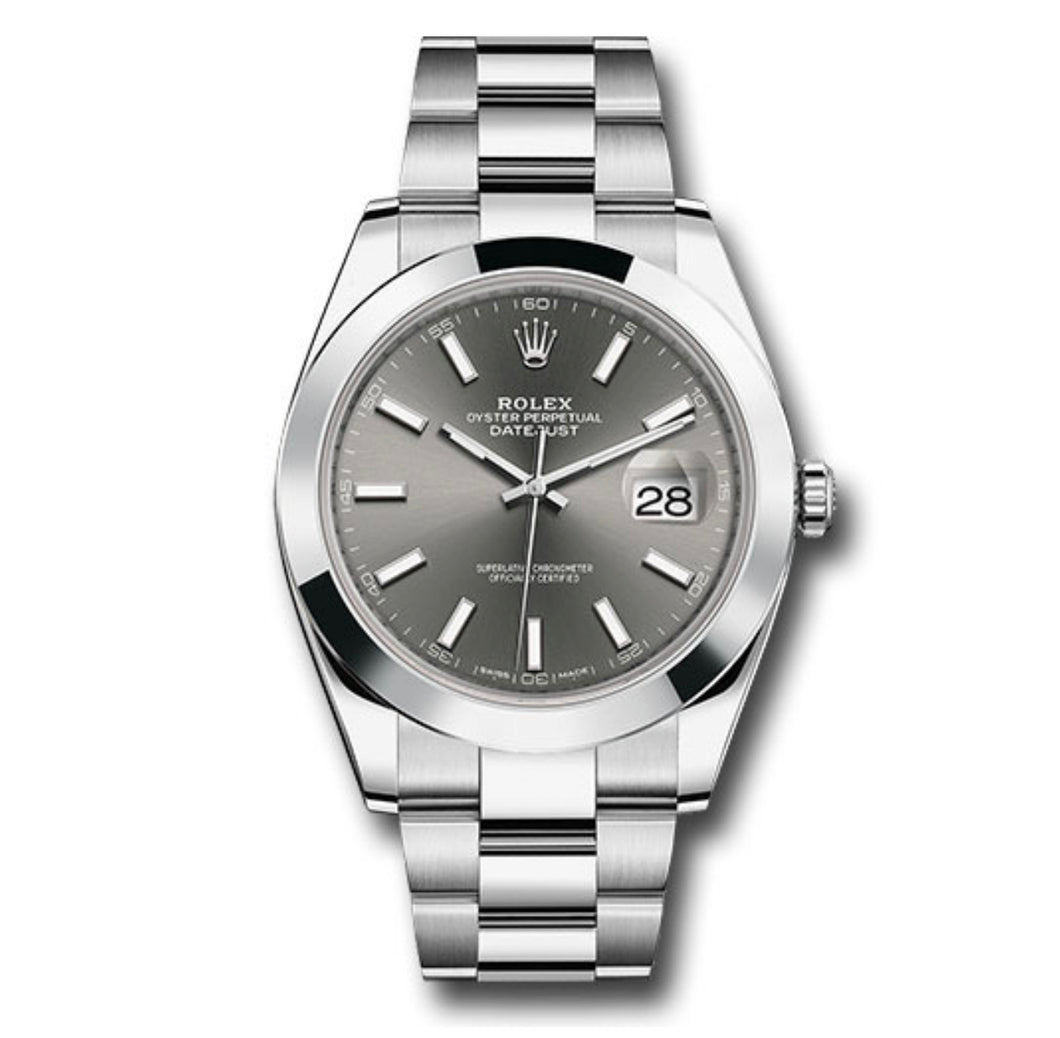 Rolex Datejust SS Smooth Bezel Grey Stick Dial 41MM
