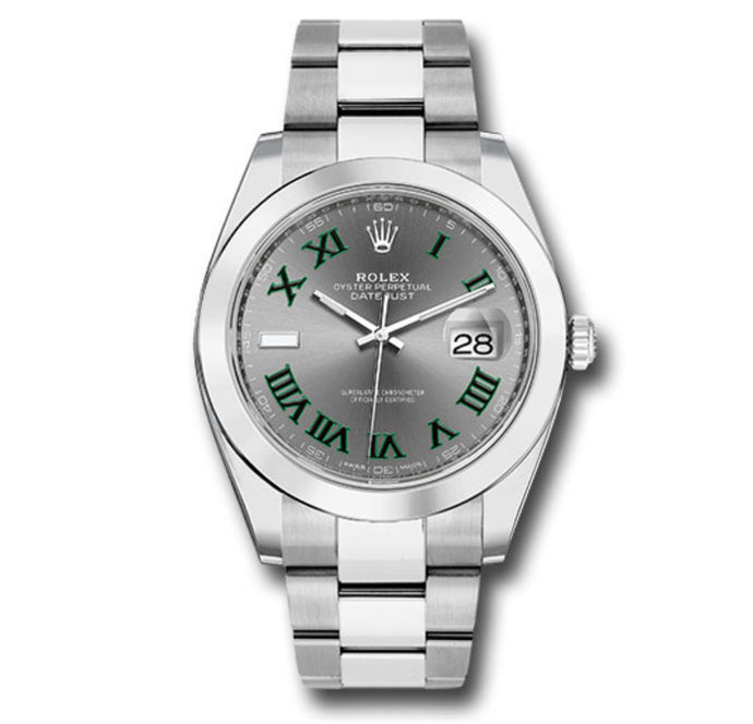Rolex Datejust SS Smooth Bezel Slate Roman Dial 41MM