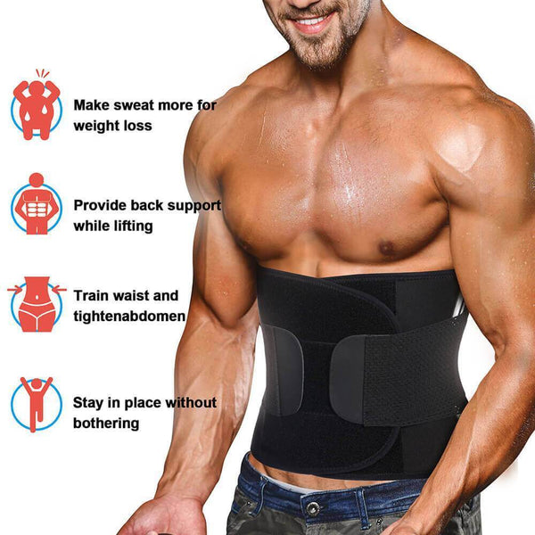 GOTOLY Men Neoprene Sauna Waist Slimmer Trainer Belt