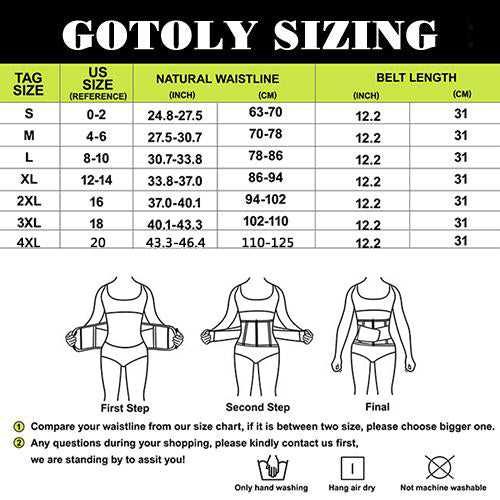 GOTOLY Waist Trainer Sliming Sauna Belt with Neoprene