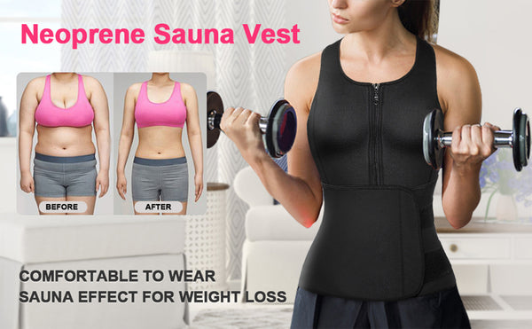 GOTOLY Sauna Suit Tank Top Vest with Adjustable Waist Trainer Belt