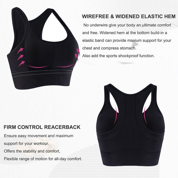 GOTOLY Women Wirefree Padded High Impact Yoga Sports Bra