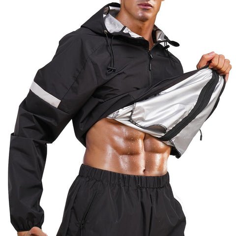 GOTOLY Lightweight Sauna Waterproof Zip Hooded Sports Jacket