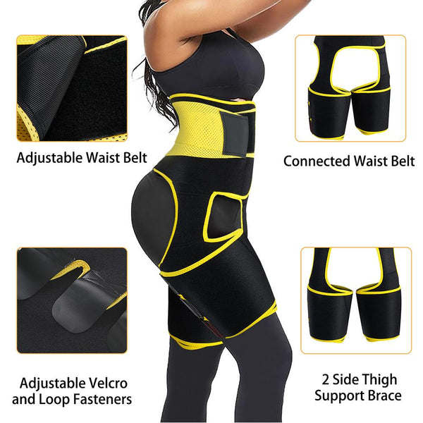 GOTOLY 3 in 1 Sauna Waist Trainer Butt Lifter Thigh Trimmer