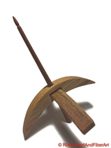 Turkish Drop Spindle - Medium Size Teak Whorl With Cherry Shaft-Riley Wood And Fiber Art