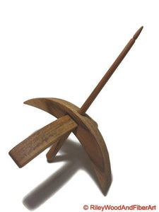 Turkish Drop Spindle - Medium Teak - Maple Shaft-Riley Wood And Fiber Art