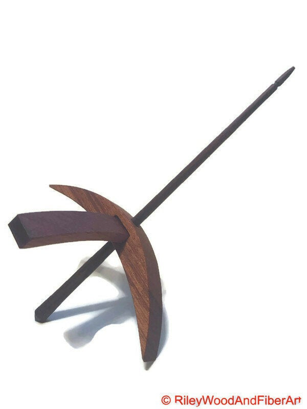 Turkish Drop Spindle - Mega African Mahogany With Walnut Shaft-Riley Wood And Fiber Art