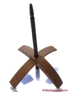 Turkish Drop Spindle - Medium Bottom Whorl - Rift Sawn White Oak With Walnut Shaft-Riley Wood And Fiber Art