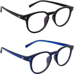 Trending Black & Blue Combo round selfie stylish frame for boys & Girls Retro Square round Frame Plain Glasses Women & Men Optical Spectacle Glasses Eyeglasses Frames