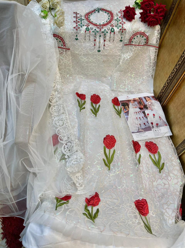 Embroidered Organza Pakistani Suit in White color
