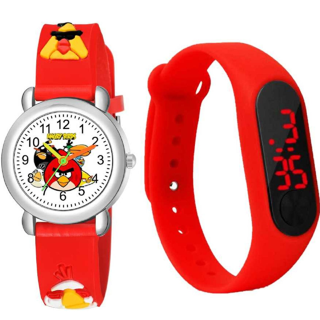 Kids Watch Girls Angry Bird 3D Silicone Sports Digital Watch Gifts for Boy Children Cartoon Sports Watch