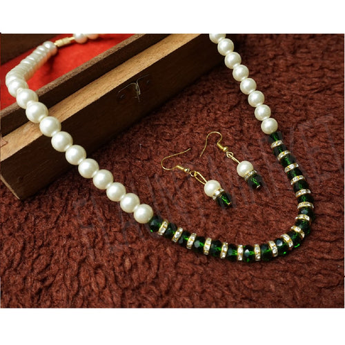 Fashionable Best Quality Designer Pearls Stylish Trending Jewel stone Set (Green)