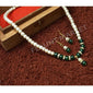 Fashionable Trending Hot Selling Green Round Pearls Set Includes Earrings With Multi Color Stones And Pendant