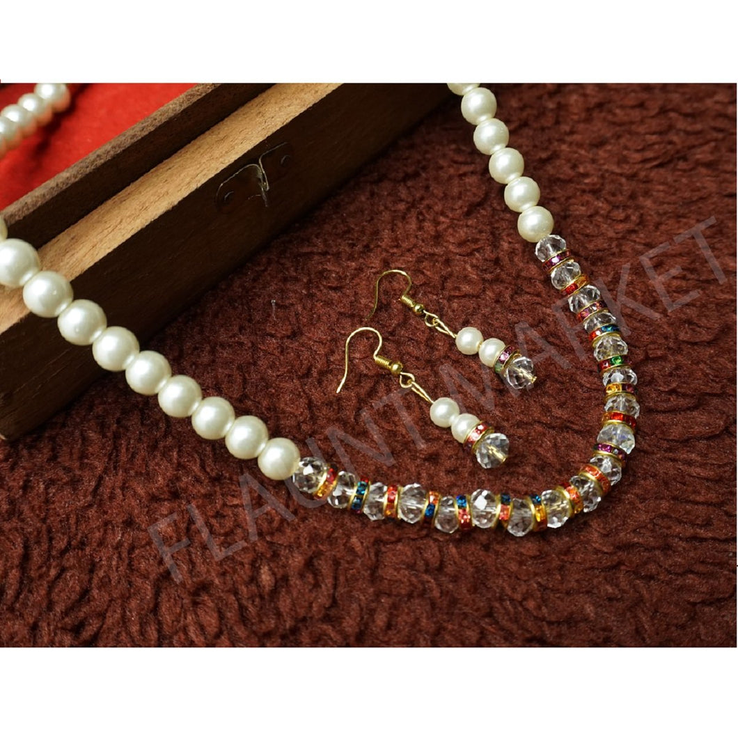 Fashionable Best Quality Designer Pearls Stylish Trending Jewel stone Set (Multicolor)