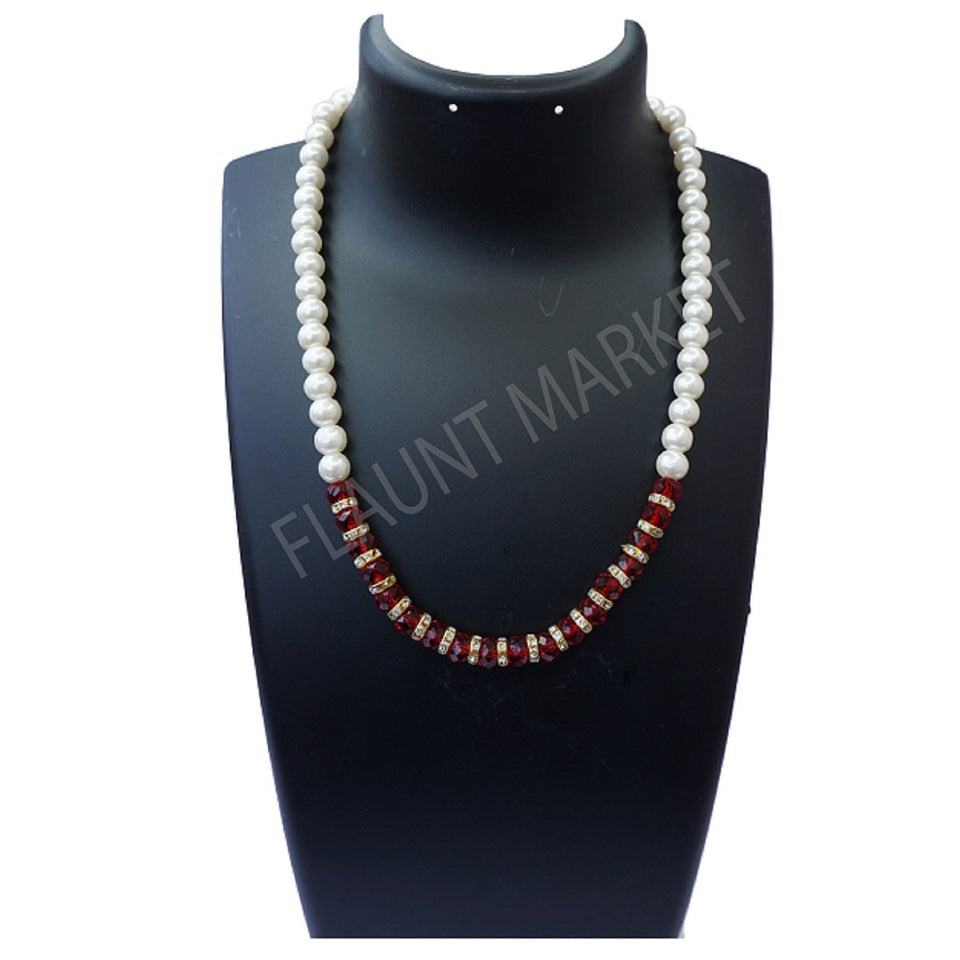 Fashionable Best Quality Designer Pearls Stylish Trending Jewel stone Set (Red)