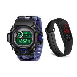 Combo of Sport Band M2 and  Blue Watches Silicone Strap Waterproof LED Digital Watch For Kid Children Student Girl Boy Wristwatch Clock Watches Men Digital Watch Sport Watch 50M Waterproof Auto Date Digital Military Watches Mens Sport Mens Watch