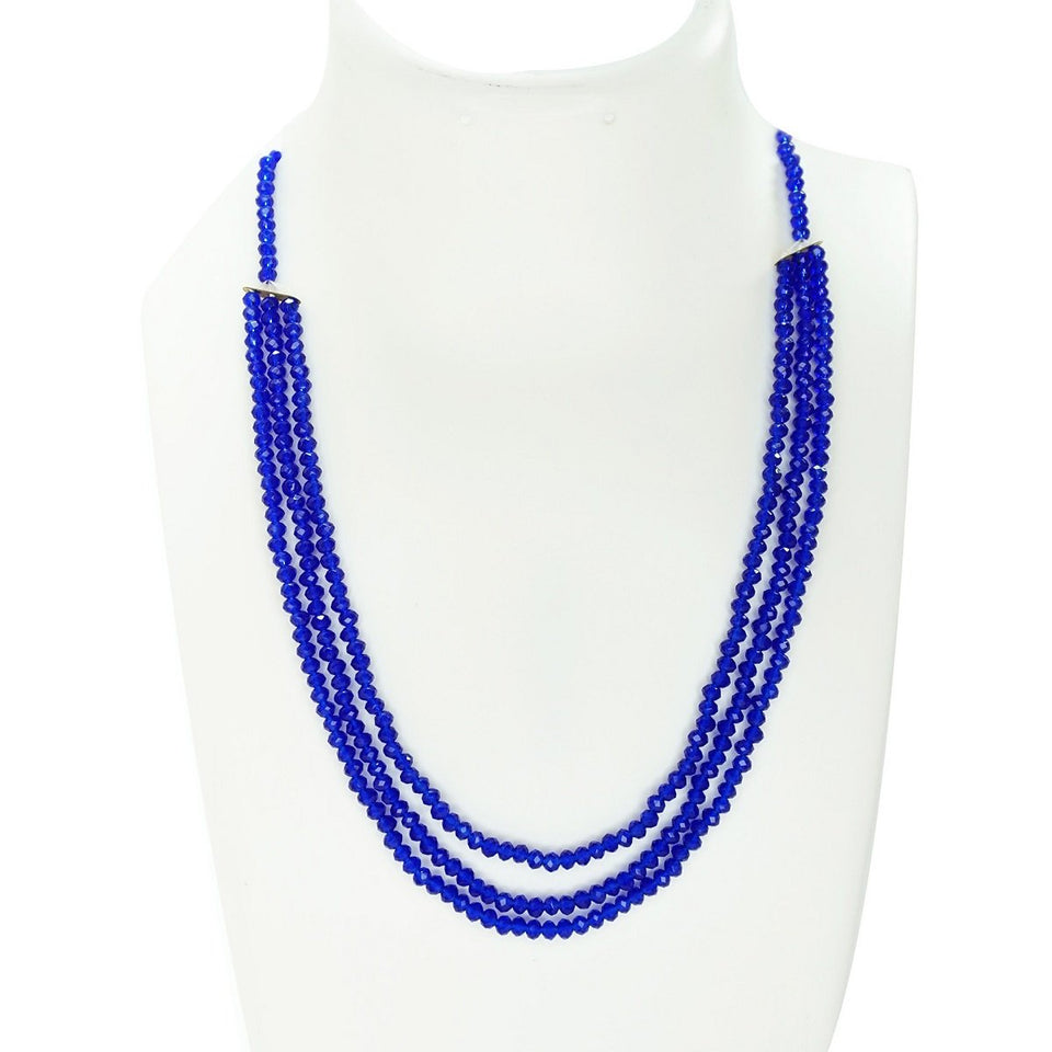 Top Quality New Stylish High Trending's Blue Coloured Beautiful Set Of Neck Piece And Earrings Three Layers