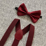 Burgundy/Maroon Bowtie/Suspenders Set. Burgundy Bow Tie Set!