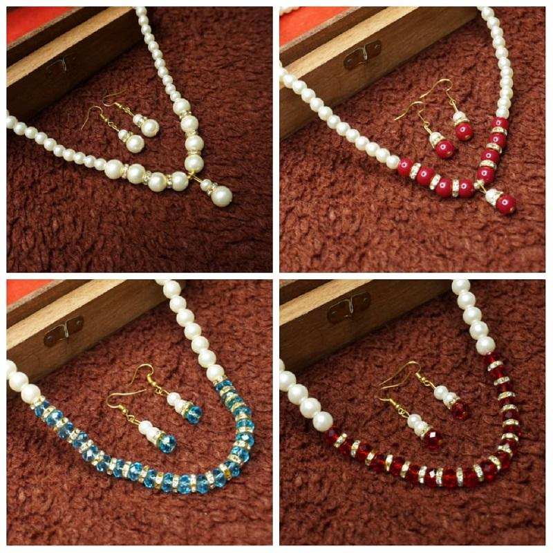 Beautiful fashionable pearls sets combo of four designer collection with earrings and pendants