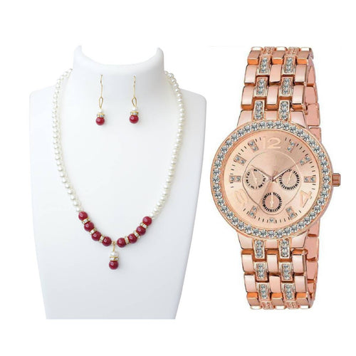 valentines special Combo of FASHIONABLE TRENDING HOT SELLING RED ROUND PEARLS SET INCLUDES EARRINGS WITH MULTI COLOR STONES AND PENDANT and Luxury Geneva Brand Women Gold Stainless Steel Quartz Watch Crystal Casual Wrist Watches Rhinestone Flaunt Market