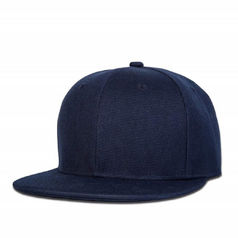 Top Quality Best Trending Black & Navy Blue Cotton Snapback Outdoor Adjustable Men Women Baseball Cap Solid Hip Hop Caps