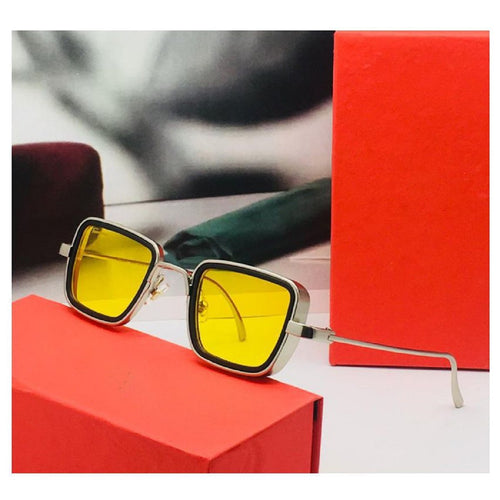 Trending Luxury Kabir Singh Indian Movie High Quality Sunglasses Men Square Silver Frame Cool Sun Shades Brand Design Yellow Glasses Boys
