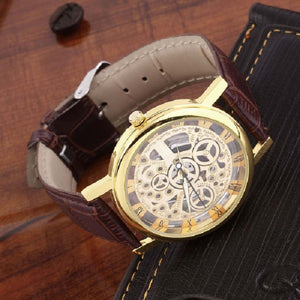Trending High Quality Brown Stylish Winner Transparent Golden Case Luxury Casual Design Brown Leather Strap Men's Watches