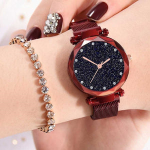 Trending Sale Top Brand Red Mesh Magnet Buckle Starry Quartz Watch Surface Casual Women Wristwatch