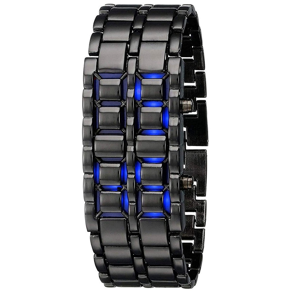 Stylish Black Chain Blue Led Watch For Kids Digital Watches For Men