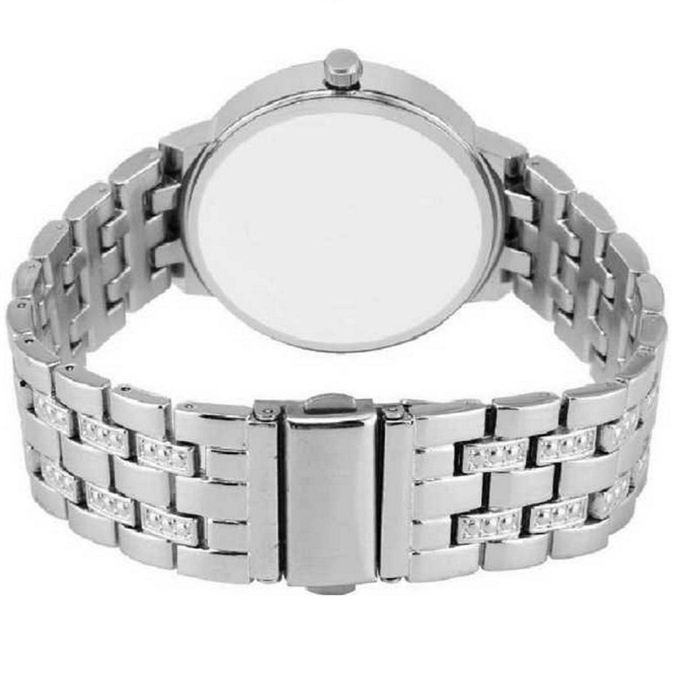 Trending Platinum New Luxury Brands Studded Stones Crystal Stainless Steel Quartz Analogue Silver Round Dial Women's Watch