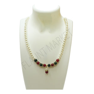 Trendy Hot Selling Multi-color Round Pearls Set Includes Earrings With Multi Color Stones And Pendant (Green Red)
