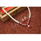 Fashionable Trending Hot Selling Red Round Pearls Set Includes Earrings With Multi Color Stones And Pendant