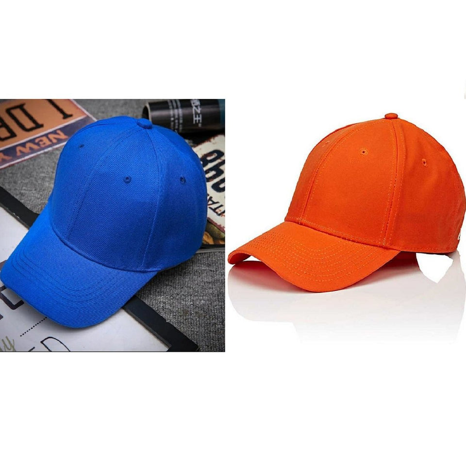 Trending Baseball 2020 Blue & Orange Cap Solid Color Snapback Fitted Casual Hip Hop ForUnisex