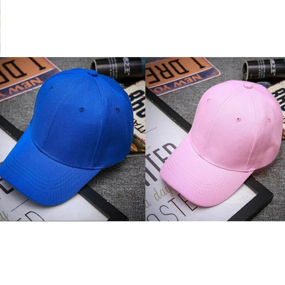 Trending Baseball 2020 Blue & Pink Solid Color Snapback Caps Fitted Casual Hip Hop For Unisex