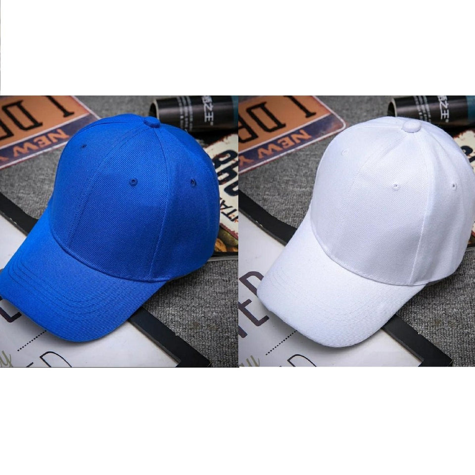 Trending Baseball 2020 Blue & White Solid Color Snapback Caps Fitted Casual Hip Hop For Unisex