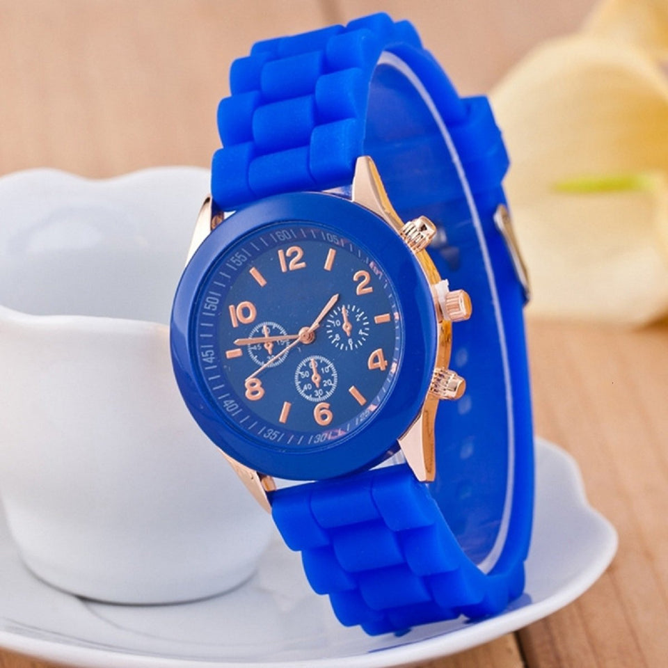 Trending Brand Blue Round Dial Silicone Strap Jelly Sports Quartz Wristwatch Women & Girls For Ladies Colorful Female Watches