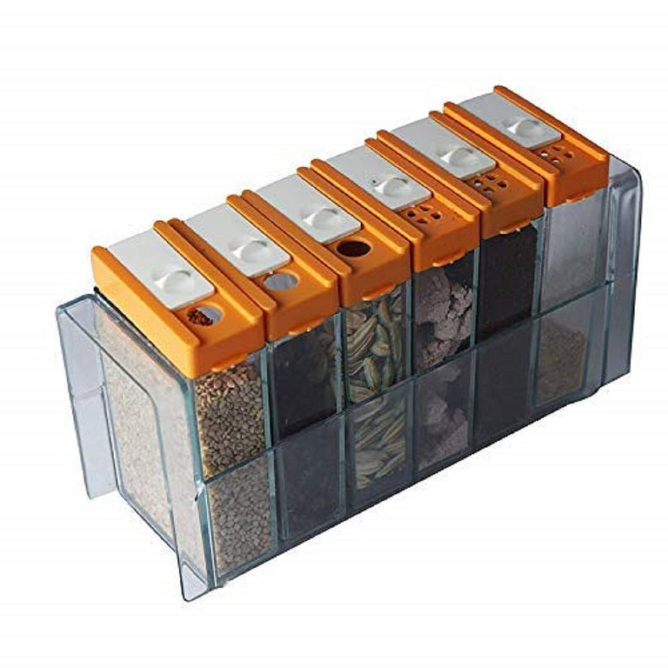 Top Quality Best Selling Classy 6 Spice Rack Plastic Seasoning Pepper Salt Spice Masala Box Spices case Kitchen Dining Storage containers Jars Dispenser Masala Rack Box
