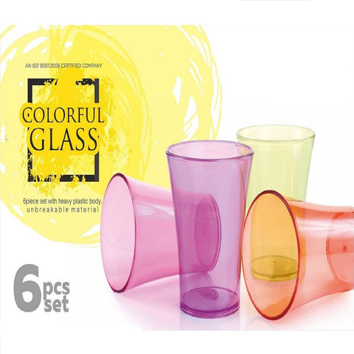 Trending Quality Best Selling Plastic Unbreakable Colourful Glass Set of 6 Pieces