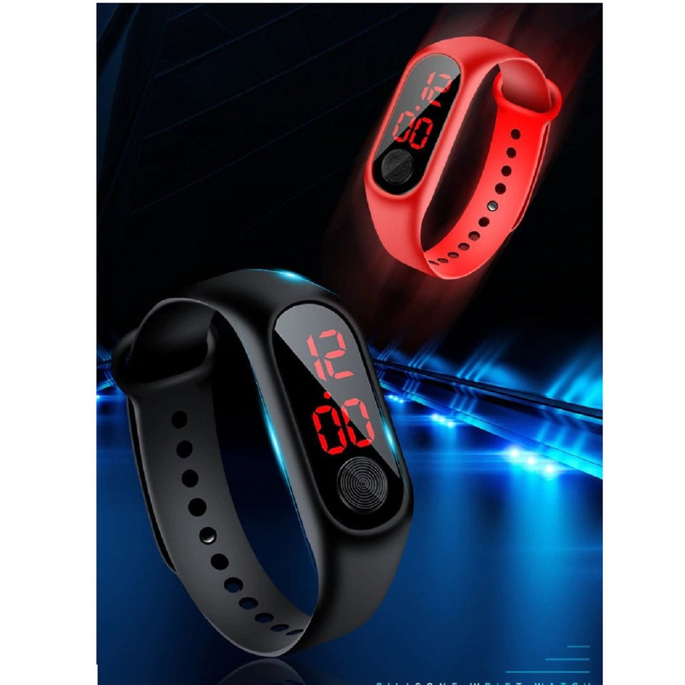 Top Quality Best Selling Trendy Sports Red LED Digital Bracelet Colorful Silicone Kids Children Wristwatch Gift Combo Of Two Watch