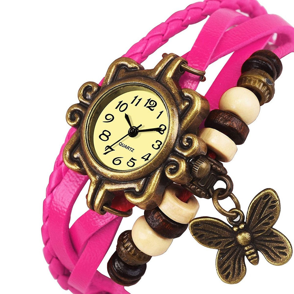 Trending Lady Bead Butterfly Dangle Bracelet Bangle Quartz Wrist Watch Best Quality Sale Women's Butterfly Bracelet Wrist Watches