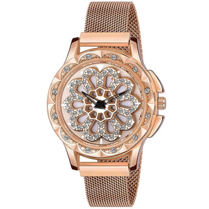 Trending Round Flower Dial Women Magnet Buckle Flower Luxury Ladies Stainless Steel Mesh Belt Quartz Watch