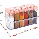 Top Quality Best Selling Kitchenware Plastic Spice Jars Dispenser 12 Masala Rack Box Easy Flow Storage Crystal Seasoning Box (10x17x7cm, Multicolour) (Pack of 12 Box)