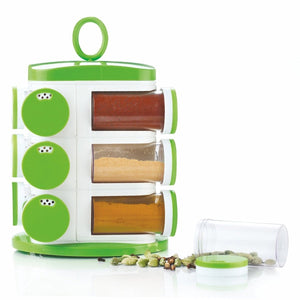 Trending Quality Unbreakable Plastic Multipurpose Masala Rack,Spice Box 12 Piece Green ABS Material
